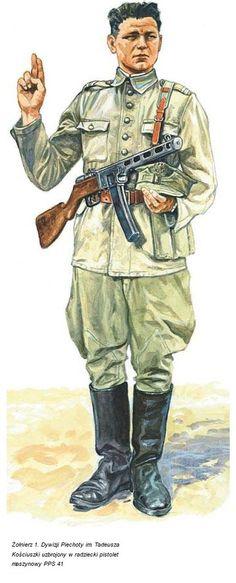 Żołnierz 1. Dywizji Piechoty im. Tadeusza Kościuszki uzbrojony w radziecki pistolet maszynowy PPS 41