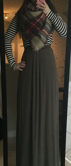 Olive green maxi skirt, navy striped turtleneck, blanket scarf