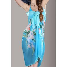 Lily Flower Pattern Swimwear Cover-Up