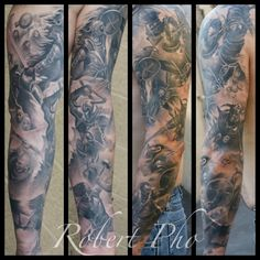sleeve tattoos | Battle Sleeve Tattoo | Skin Design Tattoo