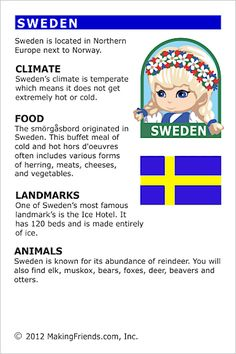 MakingFriends Facts about Sweden Printable Thinking Day fact card for our passports. Perfect if you chose Sweden for your Girl Scout Thinking Day or International Night celebration. Teaching Geography, World Geography, Facts About Sweden, Learn Swedish, Around The World Theme, Little Passports, Swedish Language, World Thinking Day, Facts For Kids