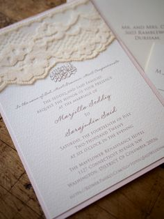 Love this blush lace wedding invitation, except with our logo instead of the Arabic prayer.