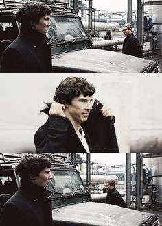 """John: """"Oh no, please don't do this."""" Sherlock: """"Do what?"""" John: """"You with your cheek bones and your collar turned up because you think it looks cool."""" Sherlock: """"I don't do that."""" John: """"Yeah you do. Sherlock Holmes, Sherlock Fandom, Benedict Cumberbatch Sherlock, Sherlock John, Sherlolly, 221b Baker Street, John Watson, Johnlock, Martin Freeman"""