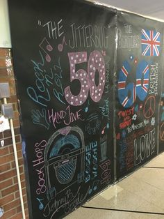 1950s dance through the decades theme week, chalkboard collage. Rock n roll theme.