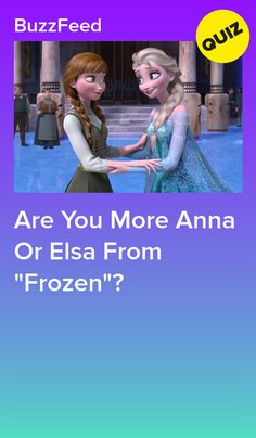 """Are You More Anna Or Elsa From """"Frozen""""? - You got: Anna You're funny and energetic, and you're happiest when you're spending time with the friends and family. You're spontaneous and will bravely stand up to anyone who tries to hurt your friends. Princess Quizzes, Disney Princess Quiz, Disney Quiz, Disney Test, Disney Trivia, Disney Fun Facts, Disney Movies, Disney Characters, Quizzes Funny"""