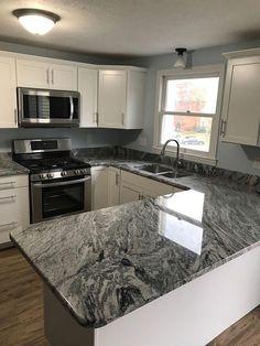 Grey Kitchen Cabinets With Dark Granite Countertops Black Granite Kitchen, Dark Granite Countertops, Outdoor Kitchen Countertops, Grey Kitchen Cabinets, Kitchen Counters, Gray Granite, Kitchen Grey, Light Granite, Granite Flooring