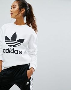 Adidas Originals - Sweat-shirt oversize avec logo trèfle