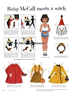Betsy ready for Halloween Paper Dolls  by MariaJoseTreasures