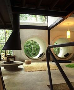 Interesting round windows in this Japanese house.