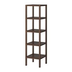 for the bedroom in the corner - for towels and extra stuff $39.99: MOLGER Shelving unit - dark brown - IKEA