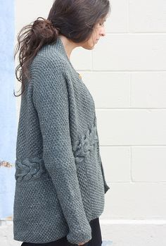 Ravelry: Laurel Cardigan pattern by Amy Christoffers | Free pattern, worsted wt | Upper knit sideways from cuffs, lower p.u. and knit down