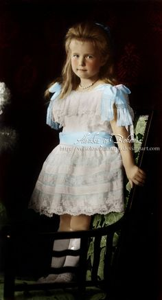 Her Imperial Highness Grand Duchess Anastasia Nikolaevna Romanova of Russia (1901-1918), the fourth daughter and child of the last Tsar, seen here as 5-years-old.