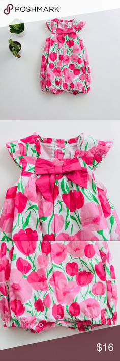 [girls] Janie and Jack tulip bubble Janie and Jack tulip floral bubble from the 2011 Happy in Madras Spring Collection.  Lovely floral dressing full of vibrant style. Tulips flourish on this colorful cotton batiste bubble. Delicate pleating and contrast bow create a lovely look. Buttons in back and snaps underneath assist with dressing.  100% Cotton Batiste; 100% Cotton Batiste Lining.   Size 6-12 months.   Excellent condition, like new. Janie and Jack One Pieces