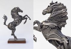 Stainless steel ribbon sculpture