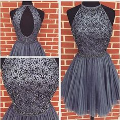 Sexy Prom Dress,Beading Grey Prom Dress,Short Homecoming Dress,Tulle Prom Gown…