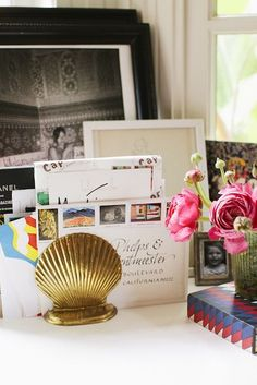 Marlien Rentmeester stashes her party invitations between gold shell bookends. So Gatsby!