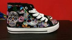 Candy Skull Sugar Skull Converse Type by DanisDecoupageBoots Candy Skulls, Sugar Skulls, Funky Shoes, To My Daughter, Daughters, Hard Wear, Rockabilly, High Top Sneakers, Give It To Me