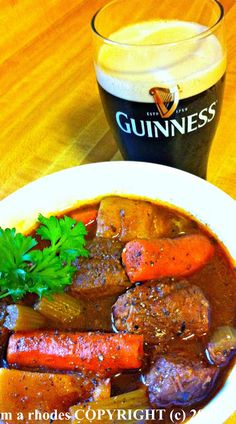 IRISH GUINNESS STEW: take all ingredients stick it into the slow cooker, 8 hours later a stunning dinner best served with some irish soda bread. Yum!