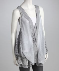 Yup, I bought this:) Take a look at this Gray Sheer Lace Vest by Ryu on @zulily today!