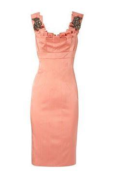 Karen Millen Colourful Jewel Shoulder Dress in Beautiful Apricot  -  uk-karenmillenoutlet.com