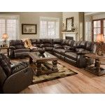 $1719.00 Recline Designs Furniture - Hampton Brown Leather Reclining Sectional