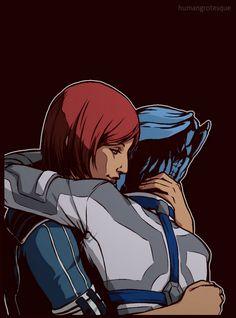 Female Shepard and Liara fanart