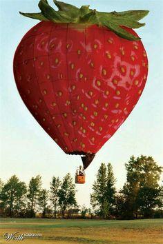 Magic Strawberry hot-air balloon ride anyone? Love Balloon, Big Balloons, Hot Air Balloons, Air Balloon Festival, Balloon Flights, Air Ballon, Strawberry Fields, Giant Strawberry, Strawberry Garden