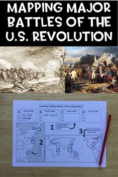 US Revolution Battles, Mapping Locations activity Social Studies For Kids, Social Studies Classroom, Social Studies Activities, Secondary Resources, Teacher Resources, Teaching Materials, Teaching Ideas, American History Lessons, Math Concepts