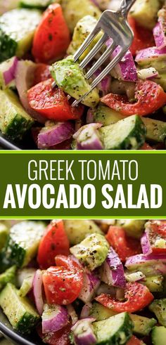This summery tomato avocado salad is full of buttery avocados, juicy tomatoes and crisp red onions, and tossed in a mouthwatering homemade Greek-inspired dressing! | #avocado #greek #salad #avocadosalad #tomatosalad #potluck