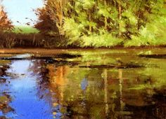Reflections at Swalcliffe Lea, painting by artist Nigel Fletcher