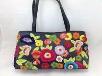 Santi vintage handbag embroidery flowers multi color satchel shoulder bag VGcond