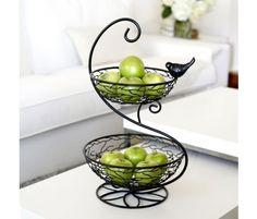 2-Tier Iron Basket W/Bird Detail.