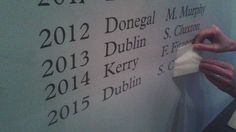 The GAA Museum curator adds Dublin to the Football Roll of Honour. Croke Park, Museum Curator, Donegal, Dublin, Football, Events, Math, Places, Hs Football