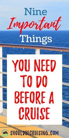 Nine Things You Need to Check Before Your Cruise - Going on a cruise? Maybe you're new to cruising, or it's been a few years since your last cruise vacation. Here are nine things you need to do before you sail. Source by shouldbecruising - Packing List For Cruise, Cruise Travel, Packing Tips For Travel, Cruise Vacation, Travel Advice, Bahamas Cruise, Packing Lists, Vacation Travel, Disney Cruise