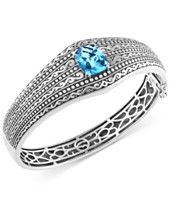 BALISSIMA by EFFY Blue Topaz Etched Bangle Bracelet (6-2/3 ct. t.w.) in Sterling Silver