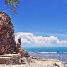 Secret monk statue and cave hidden on the coast of Koh Samui
