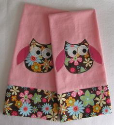 Owl Burp Cloth Pink and Espresso Personailized by Mimisartistree, $20.00