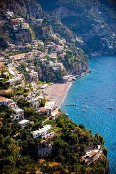 Positano, Italy -- one of my most favorite places ever!  We went here after coming back from the Isle of Capri and Naples...introduced to Limoncello here. Small, wonderful beach