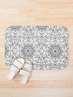 'Mystical White Black Design' Bath Mat by Shane Simpson Bath Mat Design, Bath Mats, Foam Cushions, Iphone Wallet, Mystic, Retro, Prints, Stuff To Buy, Color