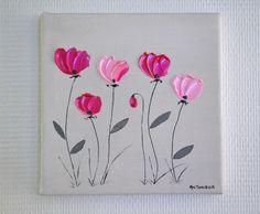 Tableau moderne abstrait fleurs roses - Petit tableau déco romantique fleurs format 20x20 - : Décorations murales par antonella-creation