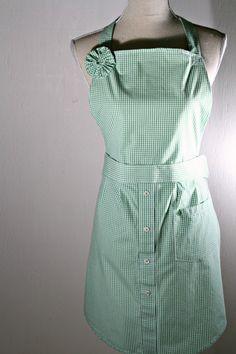Upcycled Womens' Apron and Potholders Green & White IZOD