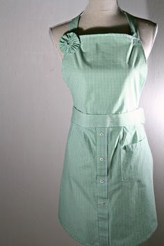Upcycled Womens' Apron and Potholders Green & White IZOD