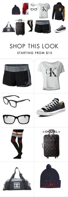 """""""After work travels"""" by mcc2014 ❤ liked on Polyvore featuring NIKE, Calvin Klein Jeans, Bobbi Brown Cosmetics, Converse, Chanel and Markus Lupfer"""