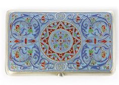 """A RUSSIAN SILVER AND CLOISONNE ENAMEL CIGARETTE CASE MARK OF GRATCHEV, ST. PETERSBURG, CIRCA 1895, """"88"""" STANDARD, ALSO BEARING WORKMASTER'S MARK AP (CYRILLIC)"""