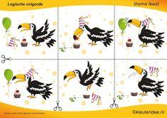 Leg de plaatjes van de vogel in logische volgorde , juf Petra van kleuteridee , thema feest, sequence free printable.