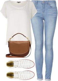 Loose white t-shirt, tan cross body bag, white converse, and light blue washed skinny jeans