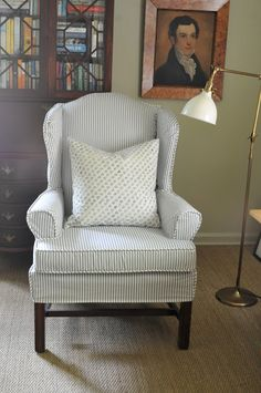 Ticking Stripe Slipcover For Wingback Chair Would Love