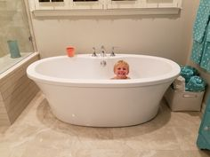 freestanding tub with deck mount faucet. MTI Basics freestanding tub with Kohler Devonshire deck mount faucets  lol child not included Freestanding faucet