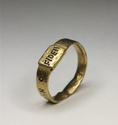 """Gold ring inscribed """"FIDEM"""" on the bezel and """"CONSTANTINO"""" on the hoop 4th Century AD Roman (Source: The British Museum)"""