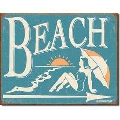 "Schonberg - Beach metal Tin Sign 16""W x 12.5""H"